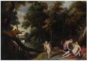 Boslandschap met Jupiter vermomd als Diana buigend over Callisto