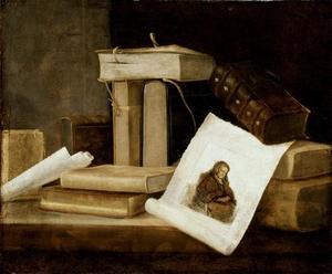 Silleven met boeken en een prent van Rembrandt