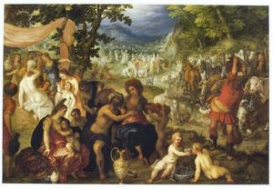 Mozes slaat water uit de rots, zodat het volk zijn dorst kan lessen (Exodus 17:1-7)