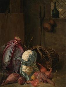 Groentenstilleven in een interieur met rode kool, bloemkool, bieten en uien in een rieten mand