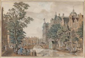 De Nieuwezijds Voorburgwal bij het stadhuis (nu Paleis op de Dam), Amsterdam