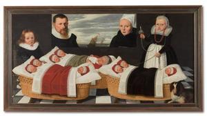 Portret van een echtpaar met twee levende en negen overleden kinderen