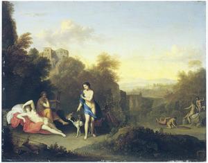 Arcadisch landschap met Diana en haar nimfen