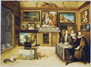 Groepsportret van Justus Lipsius (1547-1606) en twee onbekende kunstliefhebbers in een kunstkabinet
