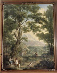 Bosrijk klassiek arcadisch landschap met offerscène en meer op de achtergrond
