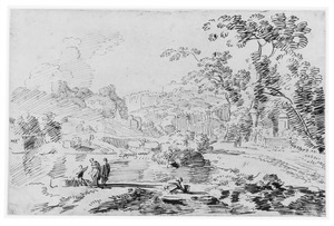 Berglandschap met figuren bij een meer