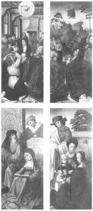 De neerdaling van de Heilige Geest (Pinksteren) (binnenzijde), de hemelvaart van Christus (binnenzijde); de Heilige Maagschap met drie figuren (buitenzijde), de Heilige Maagschap met zes figuren (buitenzijde)