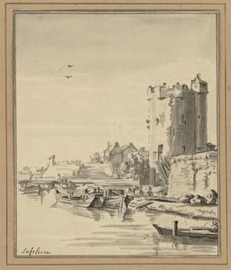 Utrecht, gezicht over de Stadsbuitengracht op de Bijlhouwerstoren en het bastion Sterrenburg