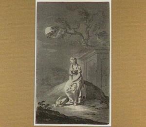 Treurende vrouw bij maanlicht met bloemenkrans en mand