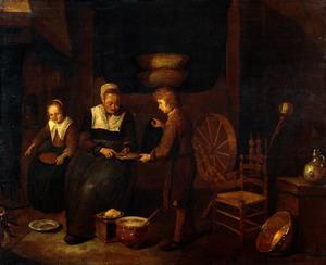 Interieur met een pannenkoeken bakkende vrouw en twee kinderen
