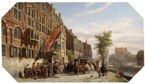Bezoek van de schout dr. J. ten Grootenhuys aan het Gilde der Handboogschutters aan de Kloveniersburgwal in Amsterdam in 1645