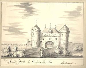 Harderwijk, de Smeepoort van de landzijde anno 1607