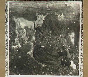 Liggend Aaltje blazend een paardebloemkaarsje