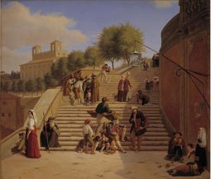 De bovenste streden van de Spaanse trappen in Rome