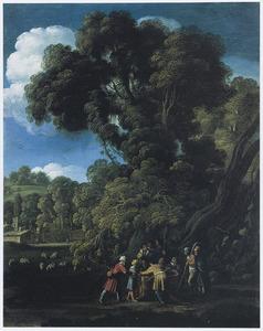 Landschap met Jozef die door zijn broers in de put gegooid wordt (Genesis 37:23-24)