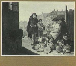 Oude blinde man en kleine jongen bedelen bij twee vrouwen die potten en pannen verkopen
