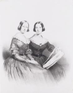 Portret van twee vrouwen, waarschijnlijk de gezusters Henriette Louise (1820-1901) en Adèle Marie Labouchere (1822-1856)