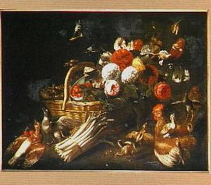 Stilleven met mand met bloemen en fruit met asperges en kippen