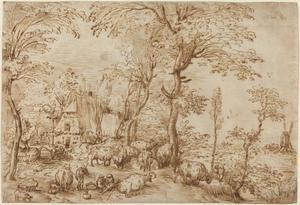 Pastoraal landschap met een boerderij en een windmolen