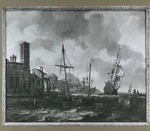 Scheepvaart voor een gefantaseerde mediterrane haven