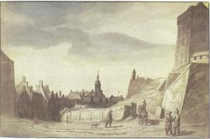 Burchtplein in Kleef met rechts de Spiegeltoren