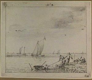 Vissers aan de oever van een meer