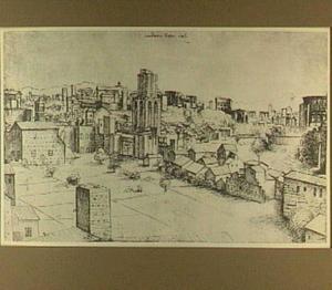 Rome, het oosten van de stad gezien vanaf Santa Maria in Aracoeli, in het midden de Torre dei Conti