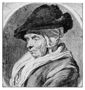 Portret van een oude vrouw met bontmuts