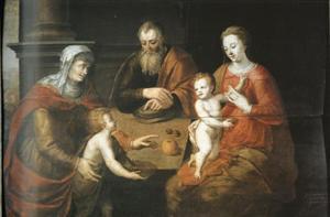 De heilige familie met de Heilige Elizabeth en Johannes de Doper