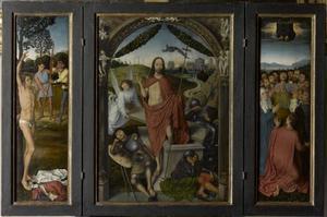 Het martelaarschap van de H. Sebastiaan (links), de opstanding (midden), de hemelvaart (rechts)
