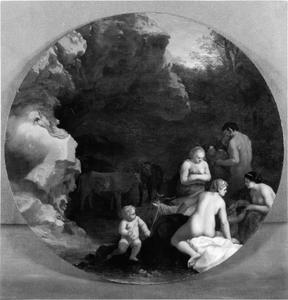 Ingang van een grot met nimfen en een sater