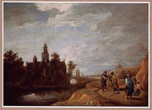 Landschap met kasteel, rechts op de voorgrond zigeunerinnen en een boer