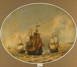Zeegezicht met drie schepen in gevecht