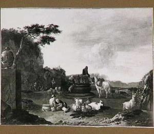 Zuidelijk landschap met rustende herders en reizigers