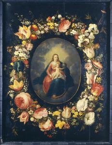 Bloemenkrans rondom Maria met Kind