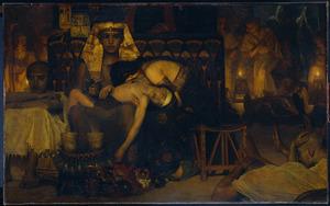 Farao treurend om de dood van zijn eerstgeboren zoon (Exodus 12:29-30)