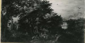 Boslandschap met jagers die hun buit verkopen