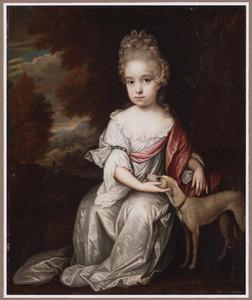 Portret van een jong meisje met een jonge windhond