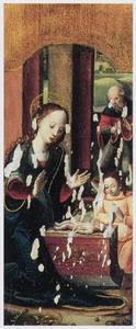 De aanbidding van Christus door Maria, Jozef en een engel