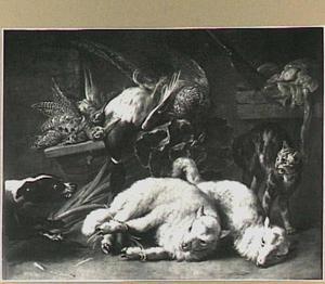 Kat en hond bij gevogelte en twee lammeren