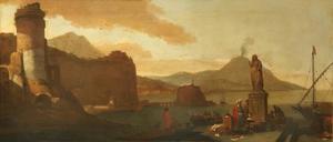 Mediterraan havengezicht met rokende vulkaan in de achtergrond