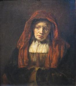 Halffiguur van een oude vrouw