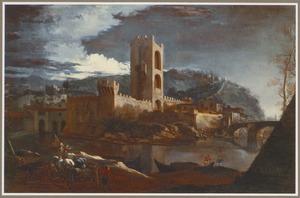 Heuvelachtig rivierlandschap met een stenen brug en de toren van San Niccolo aan de Arno
