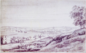 Panoramalandschap met de stad Chatham gelegen aan de rivier de Medway