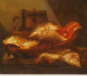 Stilleven met vissen en mosselen in een mand