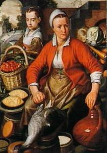 Twee vrouwen in een marktkraam met groente, fruit en gevogelte