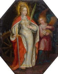 De heilige Catharina, in bijzijn van een engel