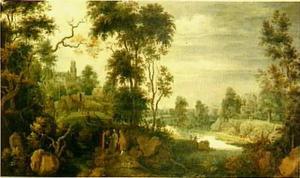 Boslandschap met de Emmausgangers