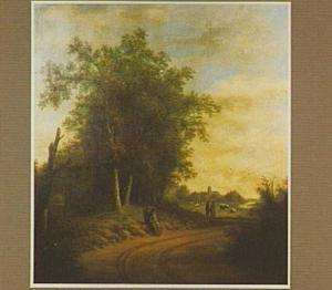 Boslandschap met marskramer langs de weg