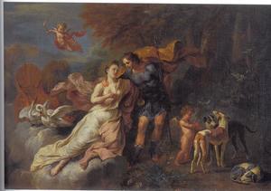 Venus tracht Adonis te weerhouden om ter jacht te gaan